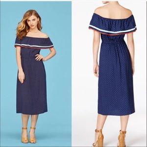 Maison Jules NWT Off the Shoulder Polka Dot Dress